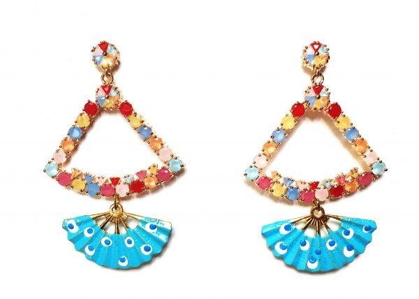 Triángulo de cristales de colores con Abanico pintado turquesa