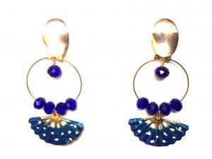 Diseño exclusivo, cristal azul, abanico pintado a mano, azul con lunares blancos. Modelo Zeli