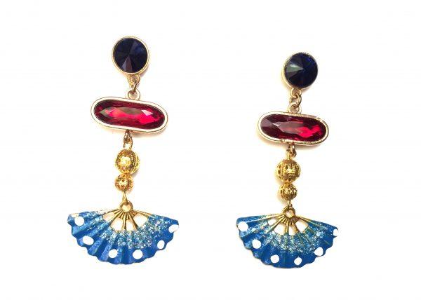 Diseño exclusivo, cristal azul y rojo abanico pintado a mano, azul con lunares blancos