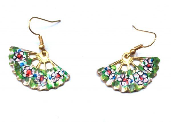Pendiente de Abanico. Verde con flores. Modelo Aire29