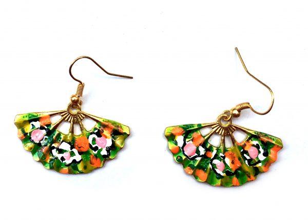 Pendiente de Abanico. verde con flores. Modelo Aire44