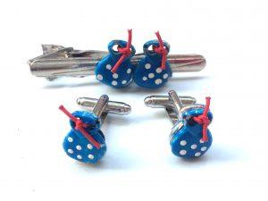 Blue Pack. Conjunto de Pisacorbata y Gemelos