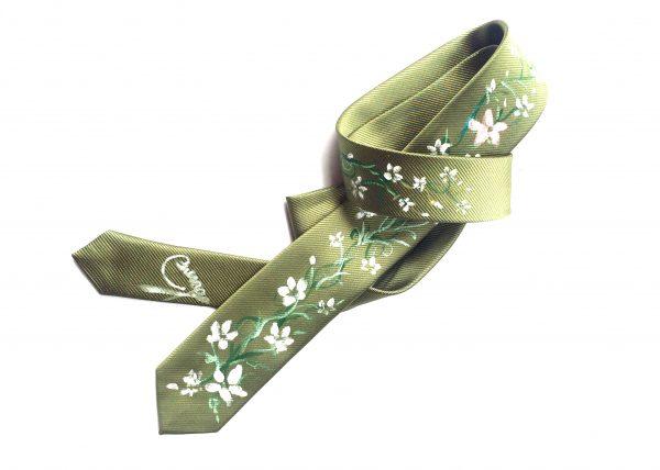 Corbata pintada exclusiva. Modelo Jazmín flor
