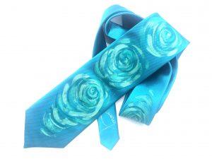 Corbata pintada exclusiva. Modelo Olas azules
