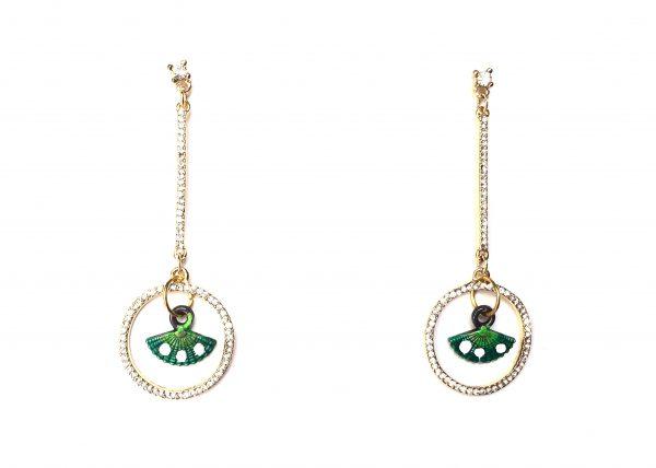 Péndulo de brillibrilli con abanico pequeño pintado verde. Modelo Péndulo1