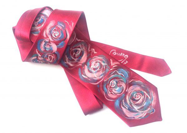 Corbata pintada exclusiva. Modelo Rosas