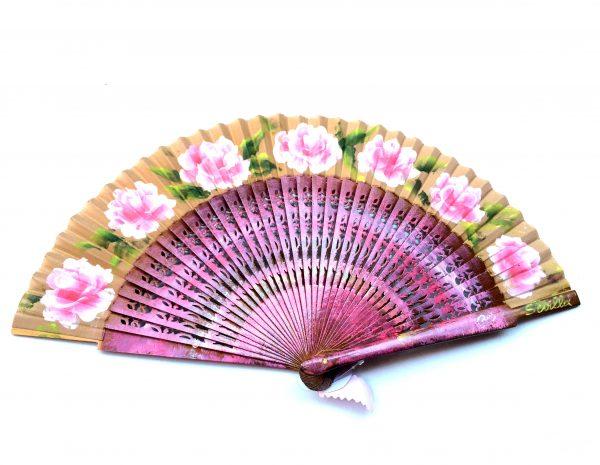 Abanico con rosas pintadas. Modelo Rositas
