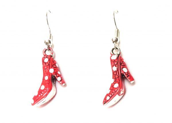 Zapato flamenco rojo con lunares blancos. Modelo Zapatito01