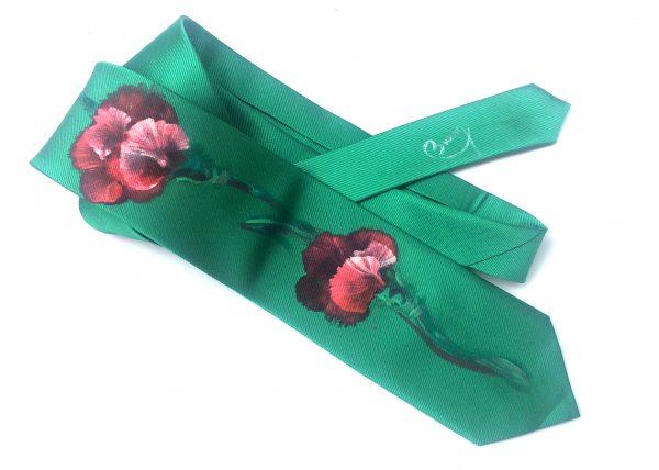 Corbata pintada exclusiva. Modelo Clavel